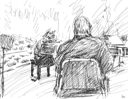 Carey Beebe tuning at Carmel Bach Festival: Sketch by Doug Mueller 92K jpeg.