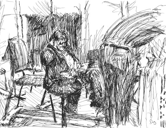 Carey Beebe tuning at Carmel Bach Festival: Sketch by Doug Mueller 112K jpeg.