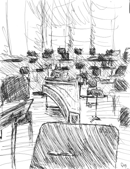 Carey Beebe tuning at Carmel Bach Festival: Sketch by Doug Mueller 99K jpeg.