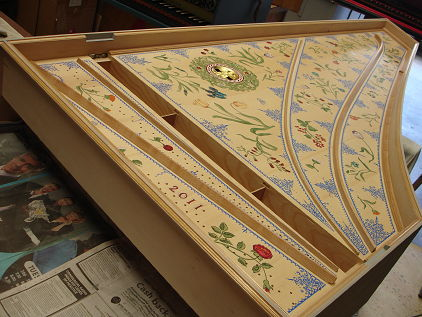 Royal Opera House, Muscat: Harpsichord soundboard painting 41K jpeg