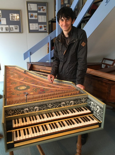 Matthew at the 1989 Flemish Double harpsichord 83K jpeg